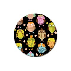 Cute Owls Pattern Magnet 3  (round)