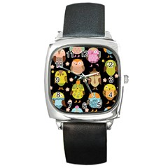Cute Owls Pattern Square Metal Watch
