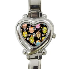 Cute Owls Pattern Heart Italian Charm Watch