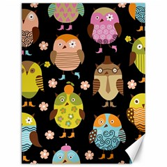 Cute Owls Pattern Canvas 12  X 16