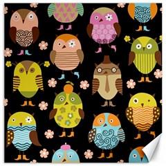 Cute Owls Pattern Canvas 16  X 16