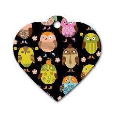 Cute Owls Pattern Dog Tag Heart (two Sides)
