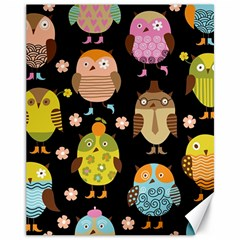 Cute Owls Pattern Canvas 11  X 14