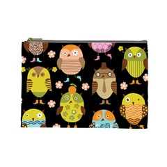 Cute Owls Pattern Cosmetic Bag (large)