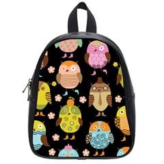 Cute Owls Pattern School Bags (small)
