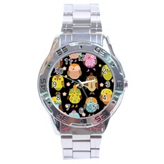 Cute Owls Pattern Stainless Steel Analogue Watch