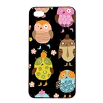Cute Owls Pattern Apple iPhone 4/4s Seamless Case (Black) Front