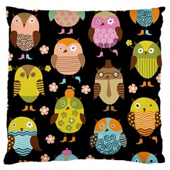 Cute Owls Pattern Large Flano Cushion Case (two Sides)