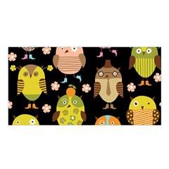 Cute Owls Pattern Satin Shawl