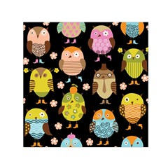 Cute Owls Pattern Small Satin Scarf (square)