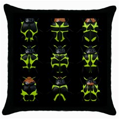 Beetles Insects Bugs Throw Pillow Case (black)