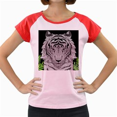 Tiger Head Women s Cap Sleeve T Shirt
