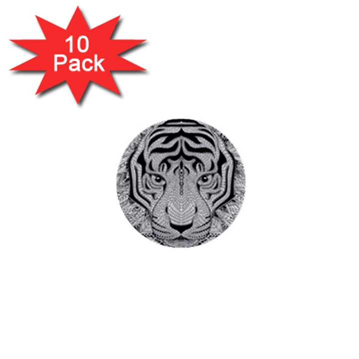 Tiger Head 1  Mini Buttons (10 pack)