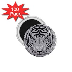 Tiger Head 1 75  Magnets (100 Pack)