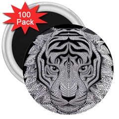 Tiger Head 3  Magnets (100 Pack)