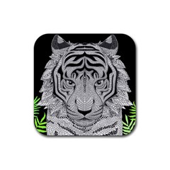 Tiger Head Rubber Square Coaster (4 Pack)