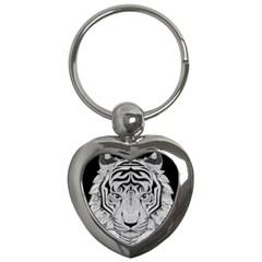 Tiger Head Key Chains (heart)