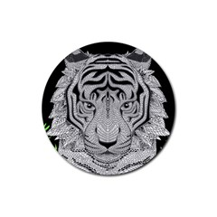 Tiger Head Rubber Round Coaster (4 Pack)