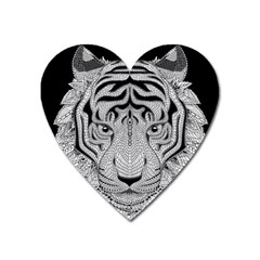 Tiger Head Heart Magnet