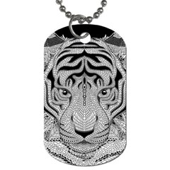 Tiger Head Dog Tag (two Sides)