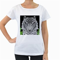 Tiger Head Women s Loose Fit T Shirt (white)
