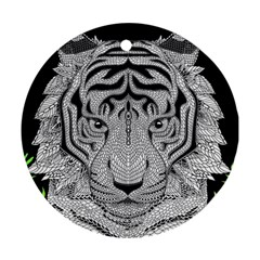 Tiger Head Round Ornament (two Sides)