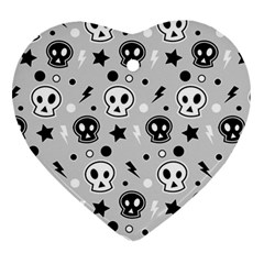 Skull Pattern Heart Ornament (two Sides)