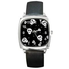 Skull Pattern Square Metal Watch