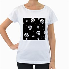 Skull Pattern Women s Loose Fit T Shirt (white)