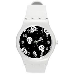 Skull Pattern Round Plastic Sport Watch (m)