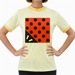 Abstract Bug Cubism Flat Insect Women s Fitted Ringer T Shirts