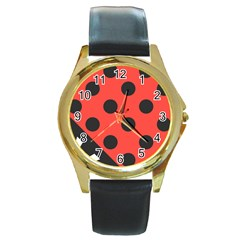 Abstract Bug Cubism Flat Insect Round Gold Metal Watch