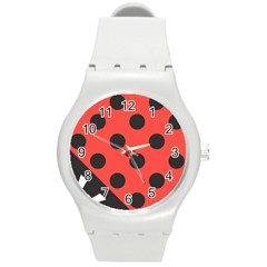 Abstract Bug Cubism Flat Insect Round Plastic Sport Watch (m)