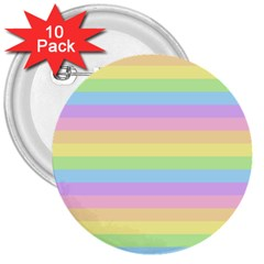 Cute Pastel Rainbow Stripes 3  Buttons (10 Pack)