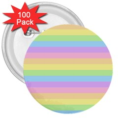 Cute Pastel Rainbow Stripes 3  Buttons (100 Pack)