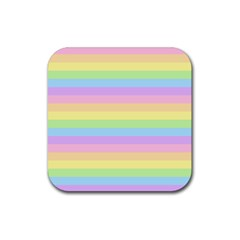Cute Pastel Rainbow Stripes Rubber Square Coaster (4 Pack)