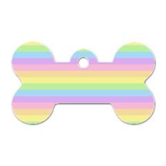 Cute Pastel Rainbow Stripes Dog Tag Bone (one Side)