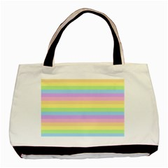 Cute Pastel Rainbow Stripes Basic Tote Bag (two Sides)