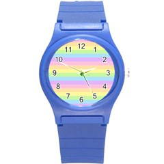 Cute Pastel Rainbow Stripes Round Plastic Sport Watch (s)