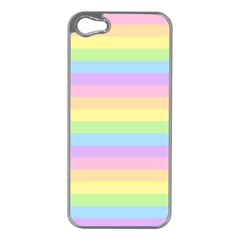Cute Pastel Rainbow Stripes Apple Iphone 5 Case (silver)