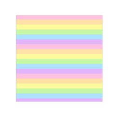 Cute Pastel Rainbow Stripes Small Satin Scarf (square)