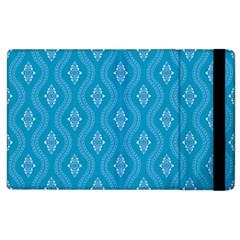 Blue Ornamental Pattern Apple Ipad 2 Flip Case