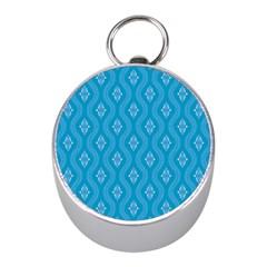 Blue Ornamental Pattern Mini Silver Compasses