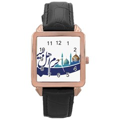 Seal Of Qom  Rose Gold Leather Watch