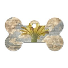 Shabby Chic Style Flower Over Blue Sky Photo  Dog Tag Bone (two Sides)