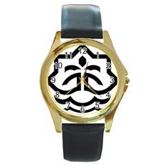 Seal Of Bandar Abbas Round Gold Metal Watch