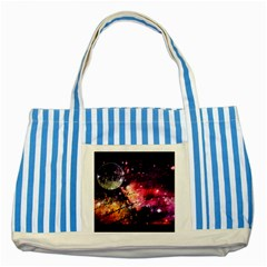 Letter From Outer Space Striped Blue Tote Bag