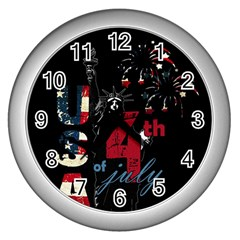 4th Of July Independence Day Wall Clocks (silver)