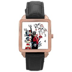 4th Of July Independence Day Rose Gold Leather Watch