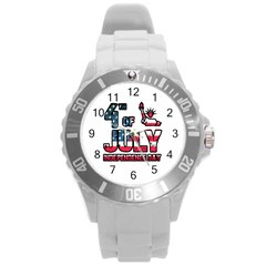 4th Of July Independence Day Round Plastic Sport Watch (l)